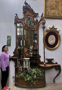 "Antique French Louis XV 10ft 8"" Tall Walnut Halltree Mirror Flower Planter C1870"