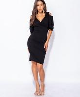 Asos Parisian Womens Black Multi Frill Sleeve Cold Shoulder Wrap Bodycon Dress