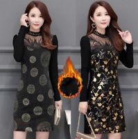 New Winter Fashion Women Plus Size Ladies Lace Floral Warm Tunic Slim Dress Tops