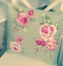 "💗Clarke & Clarke Shabby Chic English Rose Sage Green Floral 16"" Cushion Cover💗"