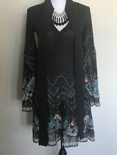 ZARA WOMEN BLACK PRINTED LONG SLEEVES TUNIC DRESS WITH LONG SCARF ATTACHED S