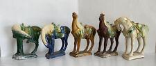 Vintage Chinese Tang Sancai War Horses Set Of 5