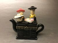 "VINTAGE MINI PORCELAIN TEAPOT 3"" Inch Trigger Box Hinge Lid Black With 3 People"