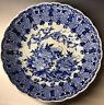 """LARGE 15"""" Antique 19th C Japanese Arita Imari Scallop Rim Porcelain B&W Bowl"""