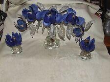 1890 RARE Cobalt Slag Glass Floral 3 pc Garniture Console Mantle Set Silver Wire