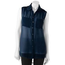 97c6b18d412 Jennifer Lopez Drape-Back Chiffon Women s Black Shirt - Size M