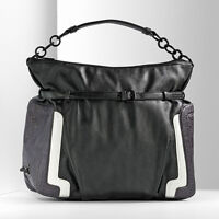 Simply Vera Wang Black Faux Leather Deco Colorblock Hobo Purse Handbag