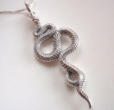 Snake Serpent Pendant 925 Sterling Silver with Authentic Looking Skin