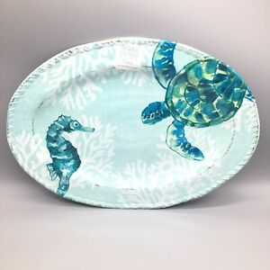 "Sigrid Olsen Ocean MELAMINE Serving Tray Platter Sea Turtle Seahorse Coral 18"""