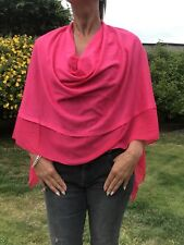 Bright Pink Light Weight Soft Wool Blend Poncho / Cover Up With Chiffon Panel