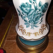 Matching Pair Vintage Porcelain Table Lamp Bases Hand Painted Floral Gold Green