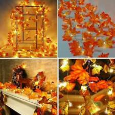 LED String Lighted Fall Autumn Pumpkin Maple Leaves Garland Halloween Xmas Decor