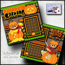 Pumpkin Carving ~ halloween 2 premade scrapbook pages paper Printed fall Cherry