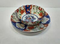 Antique Imari Meiji Period Japan Hand Painted Matching Bowl and Plate