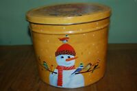 """Decorative 7.5"""" Christmas Tin - Snowman and Birds by Popcorn Factory (empty)"""