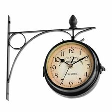 Vintage Double Sided Wall Clock Metal Battery Powered Round Hanging Accessories