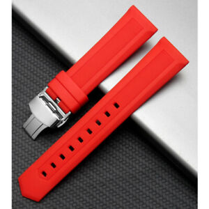 Rubber Silicone Watch Band Bracelet Waterproof Strap Butterfly Clasp Replacement