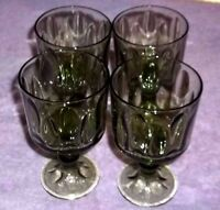 4 Vintage Green Water Wine Glasses by Indiana Glass Co Elongated Thumbprint   R