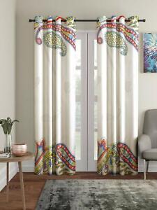 New 2 Piece Eyelet Long Door Curtain Set - 9 feet White