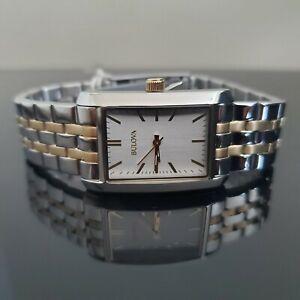 BULOVA Two-Tone Bracelet Rectangular Quartz Watch C9343091 - New