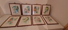More details for 8 framed original qui~sang silk framed paintings