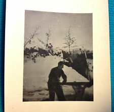 Original WWII German Soldiers 2 Man Saw Bunker Winter Russia Photograph Photo