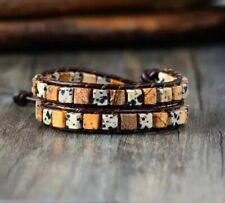 Dalmatian & Picture Jasper Bead Friendship Bracelet Wrap Beach Chakra Leather