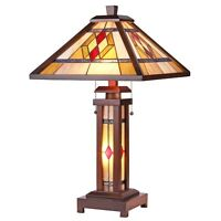 """Tiffany Style Arts & Crafts Mission Wooden Lighted Base Table Lamp 15"""" Shade"""