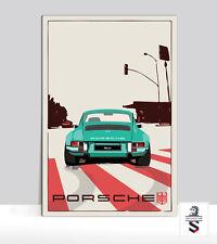 "Porsche 911 in LA. Art Print on Aluminum Porsche Garage poster 18 ""x 24"""