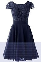 Formal Chiffon Lace Short Prom Party Cocktail Gown Evening Bridesmaid Dress 6-18