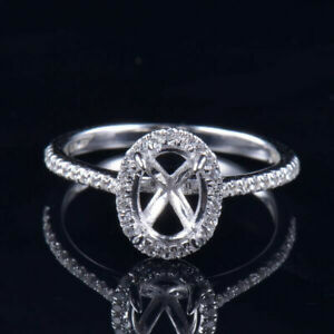 6x8mm Oval Cut Platinum Natural Diamond Halo Women Engagement Ring Setting Only