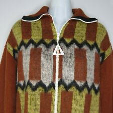 Vintage 70s Lord Clayton M Mohair Full Zip Sweater Brown Yellow Wide Collar