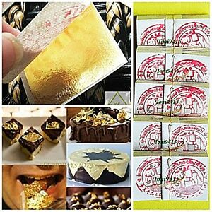 Edible Pure Gold Leaf 24K x 30pcs For Cake Decorate Food Lover Artist 35x35mm