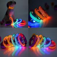 New Adjustable LED COLOR Light Up Pet Dog Cat Neck Collar Night Flashing Safety