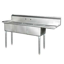 """Stainless Steel 75"""" X 24"""" 3 Three Compartment Sink Right Drainboard Nsf18x18x11"""
