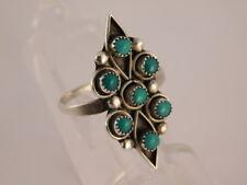 Snake Eye Ring Bead Size 9.5 Blue Green Turquoise Dot Sterling Silver
