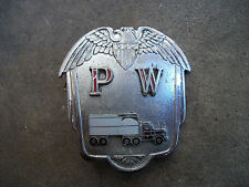 vintage 1960 PW Trucking hat cap badge pin Stadler California style truck driver