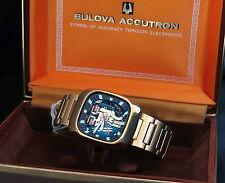 BULOVA Accutron Spaceview 214-minerale (!) bella grande quadre OROLOGIO VINTAGE