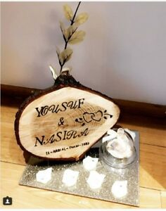 Personalised Engraved Tree Log Slice, Arabic, Wedding Date, Special Messages,