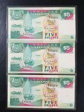 Singapore $5 Ship Series Banknote 3 Run A/11 373374~76 UNC