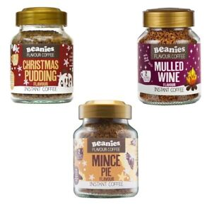 3x BEANIES FLAVOURED INSTANT COFFEE JARS: CHRISTMAS PUDDING,MICE PIE,MULLED WINE