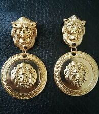 Fab Vintage Style Gold Lion Head Coin Roman Drop Dangle Orb Round Earrings UK