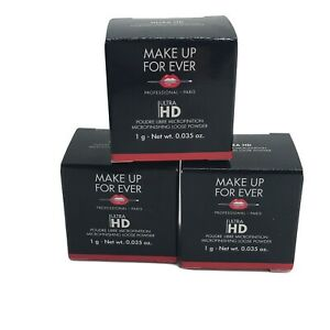 3x Make Up For Ever Ultra HD Microfinishing Loose Powder .035oz / 1g each Sealed