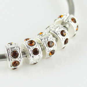 10PCS Czech Crystal Silver Spacer Charm Beads Locks Clips Stoppers Jewelry