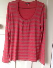 Ladies' Planet Long Sleeve Coral/Silver Striped Silk/Viscose Top Size S