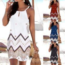 Summer Women Sexy T Shirt Floral Sleeveless Sling A-Line Beach Slim Slip Dress