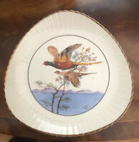 Vintage 1950s Decorative Plate HANDPAINTED Kelsboroware Plate. Pheasants. Cream