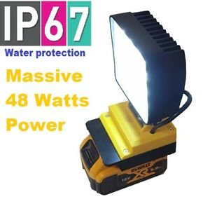 DeWALT 18v LED work light with 48 watts of power and 180 adjustable angle
