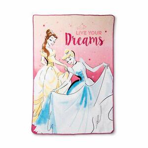 "Disney Princess Live Your Dreams Throw Oversized Plush Soft Blanket 62"" x 90"""