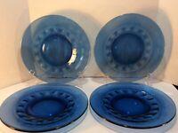 "Set of 4 Kings Crown Tiara ""Thumbprint"" Cobalt Blue Glass Dinner Plates 10"""
